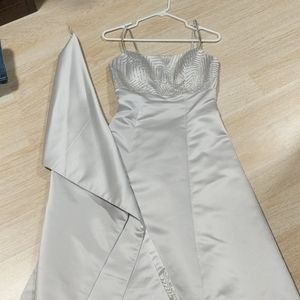 Formal Silver Gown with Beaded Accents